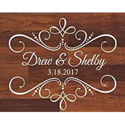 Personalized Wedding Decal Dance Floor Decal for Wedding Fancy Ornate Vinyl Decor Wedding Decor Names and Dates Decal for Sign Chalkboard