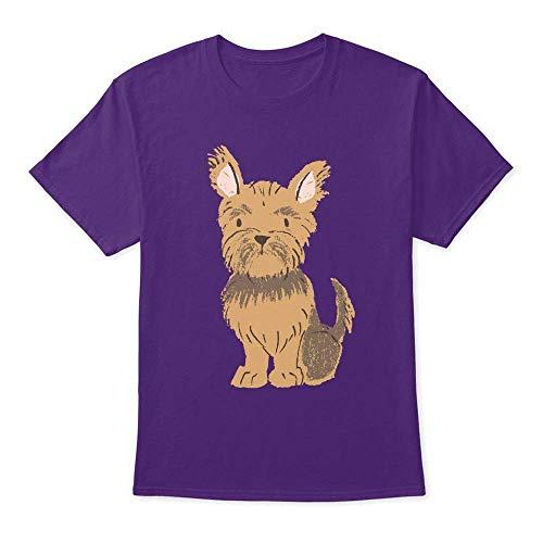 Yorkshire Terrier Brown Miniature XL - Purple Tshirt - Hanes Tagless Tee ()