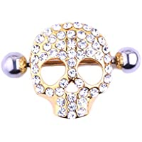 YiCheaGo 1pair Skull Design Nipple Shield Nipple Ring Body Jewelry Gold