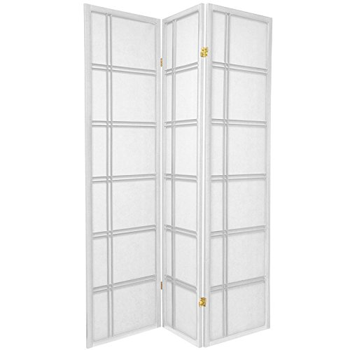 Price comparison product image Oriental Furniture 6 ft. Tall Double Cross Shoji Screen - White - 3 Panels