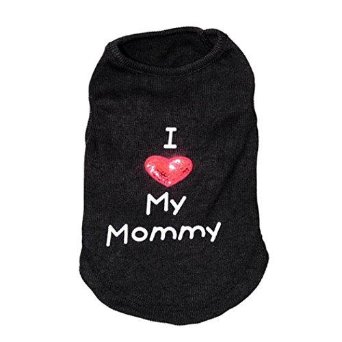 Pet Clothes, Howstar Dog Cat Love Mommy Daddy Shirt Apparel Winter Sweater (Black, M)