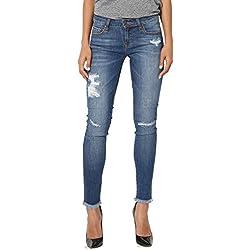 TheMogan Women's Frayed Dustressed Soft Rayon Denim Crop Skinny Jeans Medium 3