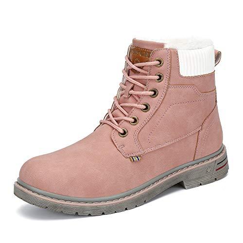 Mishansha Men's Women's Winter Water-Resistant Anti-Skid Snow Boots Warm Ankle Bootie Pink 8 Women/6.5 Men (Best Work Boots 2019)