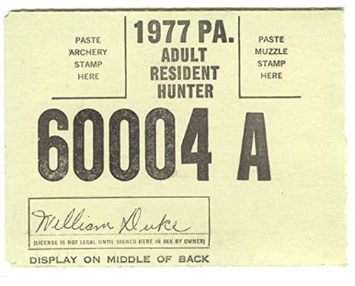 Used, 1977 Adult Resident Hunter PA Hunting License #60004A for sale  Delivered anywhere in USA