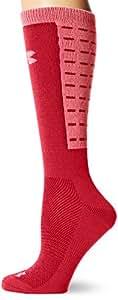 Under Armour Women's ColdGear Dash Crew Socks (1 Pair), Strength Red/Bittersweet Pink, Medium