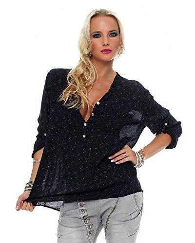 Fisher tendre chemise viscose belle 4 lgre ZARMEXX Chemise 3 d't coupe bras Noir floral blouse tunique blouse qwH6B5I