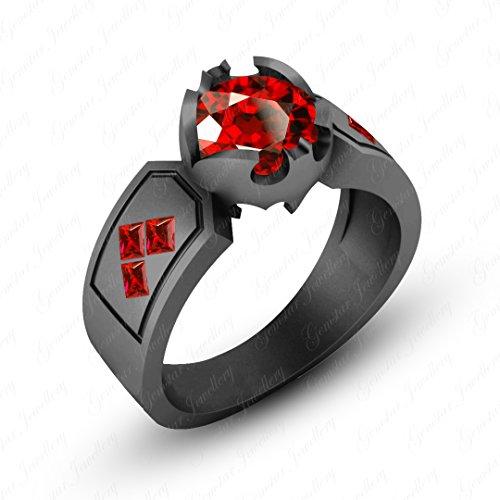 Gemstar Jewellery Engagement Round & Princess Cut Red Garnet Black Gold Finish Harley Quinn Ring