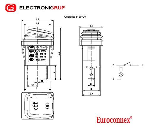 verde Euroconnex rectangular Interruptor estanco 3P ON- OFF