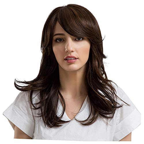 Inkach Synthetic Curly Wigs for Black Women Long Wavy Heat Resistant Wigs with Inclined Bang Costume Party Hair Wig (Brown)