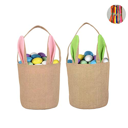 Easter Bunny Bag, 2 PCS Jute Bunny Basket Easter Egg Basket Dual Layer Rabbit Ears Design Burlap Bag Easter Handbag for Party Supplies, Gift wrapping, DIY Creation