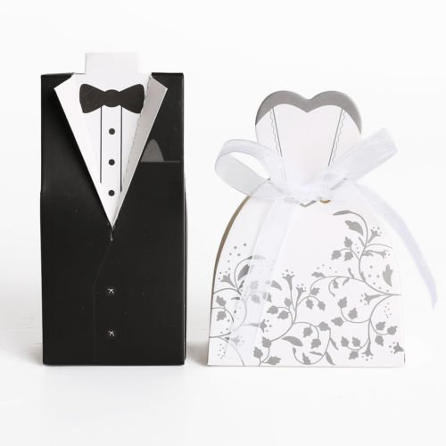 The Pecan Man Wedding Favor Boxes Dress Tuxedo Party Candy Gift Bride Groom Shower 50 pcs
