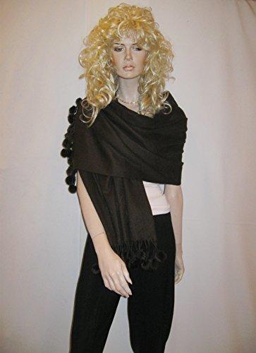 Cashmere scarf/Cashmere shawl with Mink Pom-Pom balls -Cashmere Pashmina Group (Coffee)