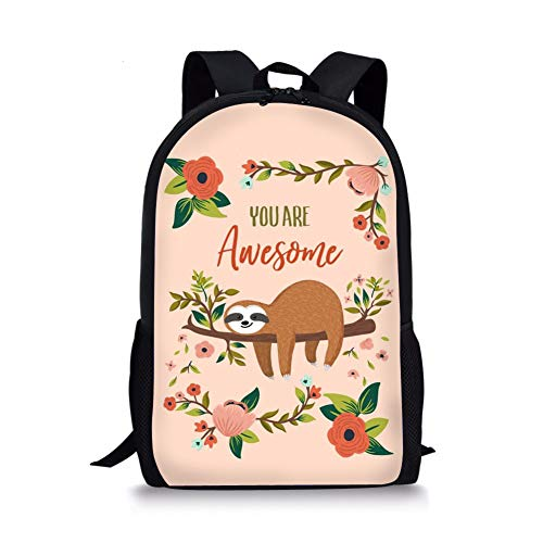 Awesome Kids Backpacks (Dzulife Sloth You Are Awesome Children Backpack for Students Girls Teenager Bookbags School Travel)