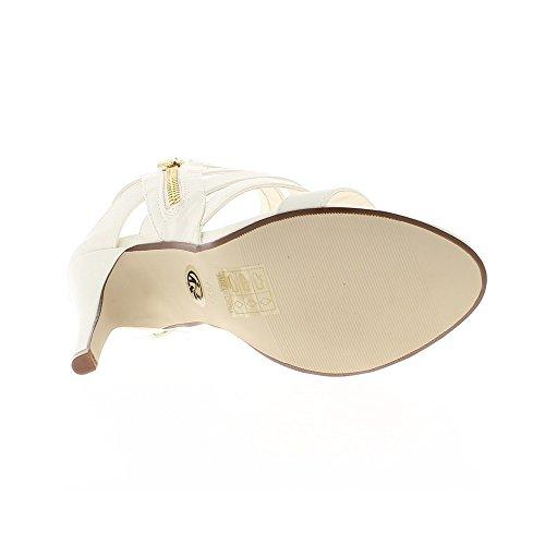 Sandales blanches à talon fin de 10.5cm et fines brides