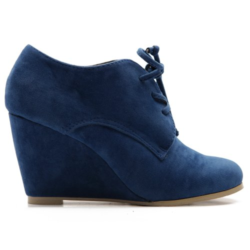 aux Suede Wedge Heel Fashion Ankle Lace Up Boot ZM8902(6.5 B(M) US, Blue) ()