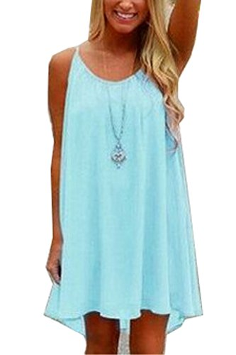 Cover Plus Size Ups (Amstt Womens Summer Sexy Vibrant Color Chiffon Dress Bathing Suit Cover up (L, Light Blue))