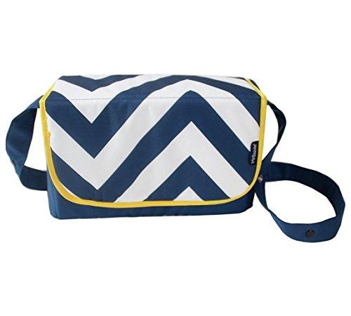 Mi Babiie azul Chevron–Bolso para pañales y cambiador, diseño estampado