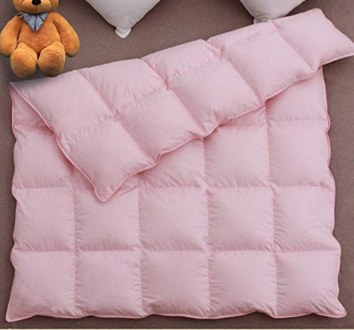 C&L Baby Crib Comforter/Duvet/Blanket All Season 100% Natural White Goose Down Filled,Noiseless 500 Thread Count 100% Cotton Fabric 750+Fill Power (Pink, 41x48in)