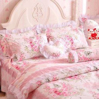 Amazon.com: FADFAY,Romantic Flower Print Bedding Set,Floral Bed  Set,Princess Lace Ruffle Duvet Cover King Queen Twin,4Pcs (QUEEN): Home U0026  Kitchen