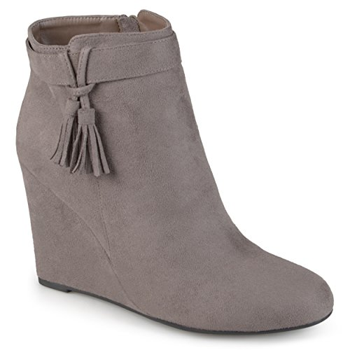 Journee Faux Womens Collection Grey Tasseled Wedge Booties Suede Rw1axgRrq