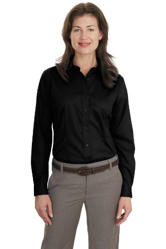 - Port Authority Women's Long Sleeve Non Iron Twill Shirt XL Black