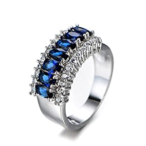 Rings Jewelry 925 Sterling Silver Women Ring Full CZ Ring Mysterious Women Blue Zircon Ring White Gold Ring Ladies Party Christmas Ring