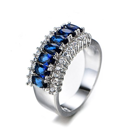 Rings+Jewelry+925+Sterling+Silver+Women+Ring+Full+CZ+Ring+Mysterious+Women+Blue+Zircon+White+Gold+Ring+Ladies+Party+Christmas+Ring+size+7