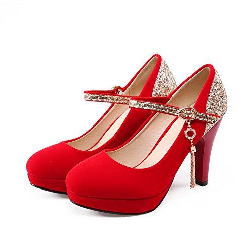 AllhqFashion Mujeres Dos tonos Tacón ancho Puntera Redonda Hebilla De salón con Lentejuelas Rojo