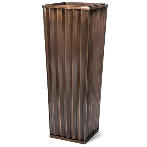 (H Potter Tall Outdoor Indoor Planter Patio Deck Flower Ribbed Garden Planters Antique Copper Finish (Small))