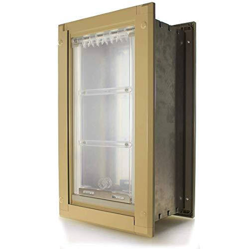 Endura Flap Wall Pet Door Energy Efficient Single Flap Dog Door Small Medium Large XL Safe Doggie and Cat Door in Black…