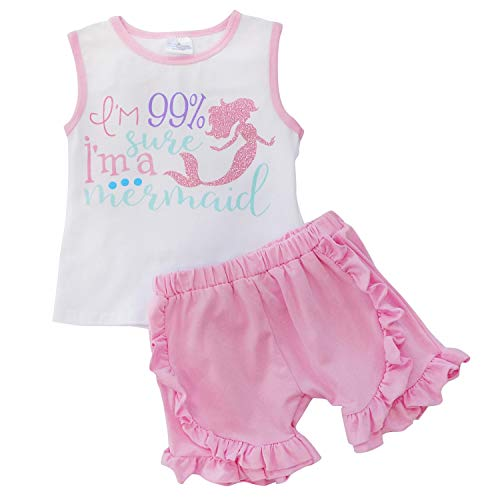 So Sydney Girls Toddler Sequin or Ruffle Novelty Summer Pool Beach Vacation Shorts Outfit (2T (XS), I'm a Mermaid) -