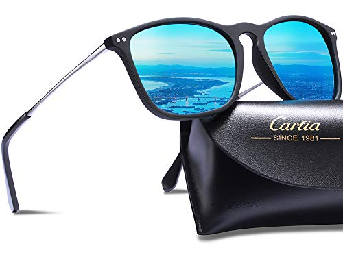 (Carfia Vintage Polarized Sunglasses for Men, 100% UV400 Protection (Ice Blue Mirror))