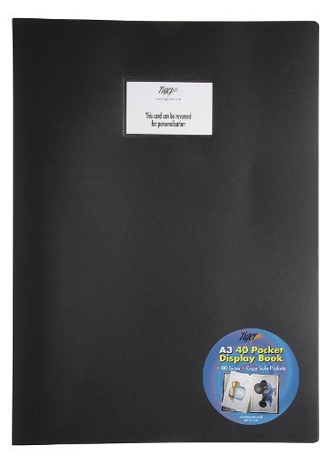 1 x A3 Flexicover Black Display Book Presentation Folder Portfolio - 40 Pkt by Tiger