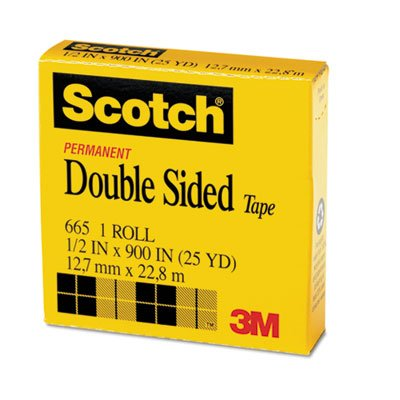 Double Sided Office Tape, 1/2'' x 900'', 1'' Core, Clear, Total 72 RL
