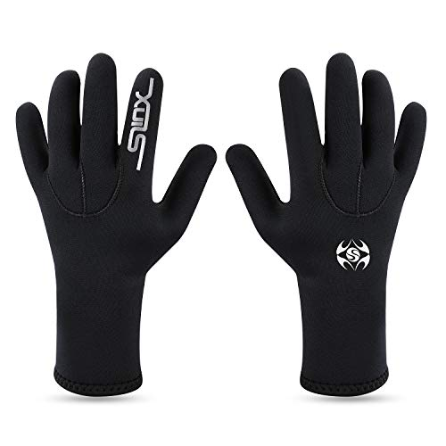 Oumers 3MM Double-Lined Neoprene Scuba Gloves Diving Gloves, Woman Man Teenager Five Finger Wetsuit Gloves Use for Snorkeling, Swimming, Surfing, Sailing, Boating, Kayaking, ()