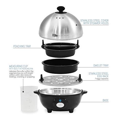 Elite Egg Poacher, Medium, Hard-Boiled Egg Cooker with Auto-Off, Buzzer Stainless Egg Capacity,