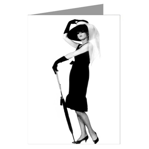 Single Greeting Card of Audrey Hepburn As Holly Golightly in Breakfast at Tiffany's Wearing Her Hat and LBD