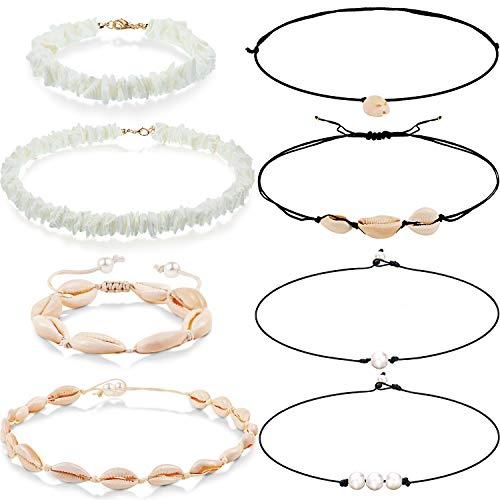 (8 Pieces Freshwater Pearl Shell Necklace Bracelet Puka Shell Choker Necklace Bracelet for Women Girl Boho Hawaiian Wearing)