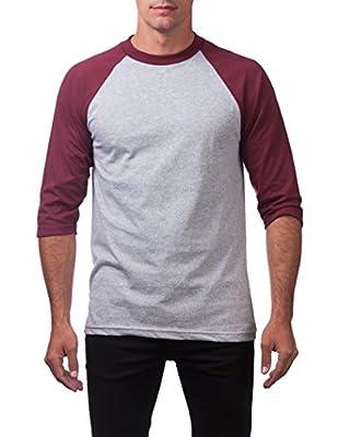 Pro Club Men's 3/4 Sleeve Crew Neck Baseball Shirt