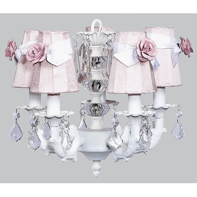 - Jubilee Collection 7037-6504-200-MG2301 5 Arm Stacked Glass Ball White Chandelier with Plain Pink Sconce Shade and White Sashes/Light Pink Rose Magnets
