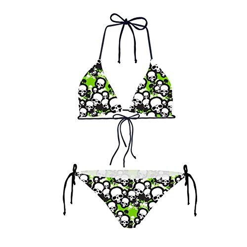- Bigcardesigns Bikini Set Skull Printed 2 Pcs Bikini Set Light Green L