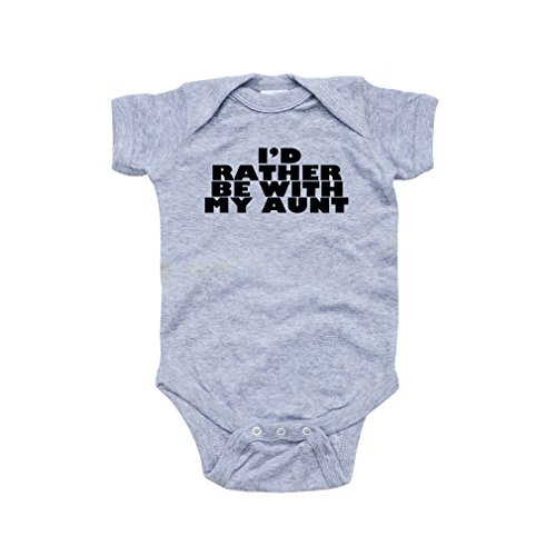 Infant I'd Rather Be with My Aunt Print Heather Gray Short Sleeve Bodysuit (Newborn)