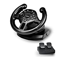GAMEMON Double Vibration Mini Racing Wheel Compatible with Playstation3 PS3/PC D-Input and X-Input