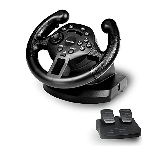 GAMEMON Mini dualshock Racing Wheel compatible with Playstation3 PS3/PC USB
