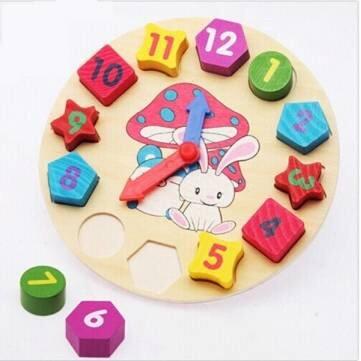 Baby Children Number Geometry Clock Wooden Puzzle Bricks Toy
