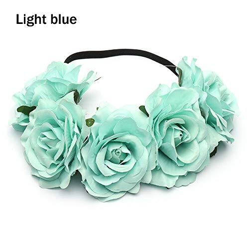 Bridal Headwear Wedding Hairband Rose Flower Garland Elastic Wreath Headband (Size - Light blue)