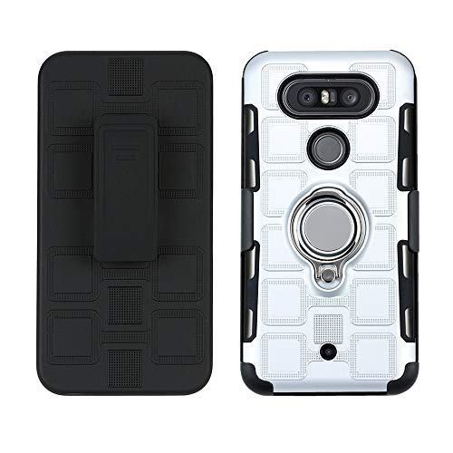 Lantier High Impact Three Layer Hybrid Full Shockproof Armor Rugged Holster Protection Case with Kickstand Magnet 360 Rotating Ring Belt Swivel Clip for LG V30/V30s/V30 Plus/V35 ThinQ 2017 Silver ()