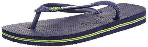 Havaianas Unisex Mens Ragazzi Brasil Logo Infradito Piatto Uk 6/7 - Reggiseno 39/40 Blu Navy
