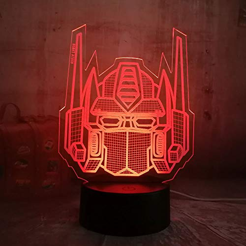 (Cool Transformers Optimus Prime Character Autobots Mech Warrior Boy Gift Toys Illusion RGB 3D Led Night Light Colorful Desk Table Lamp(Transformers))