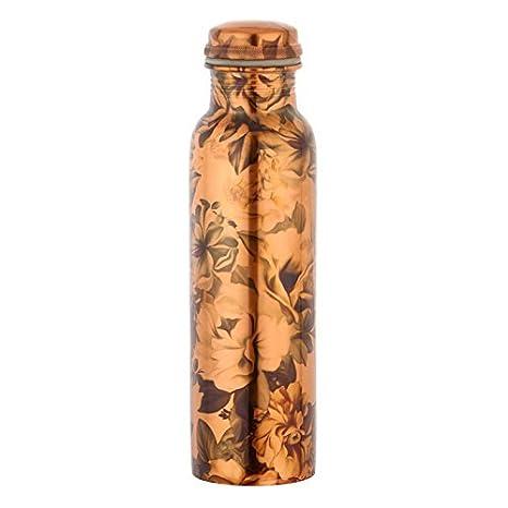 Botella de agua con estampado de flores para beneficios de salud ayurvédicos sin juntas a prueba de fugas (cobre, 900 ml) cobre puro: Amazon.es: Hogar